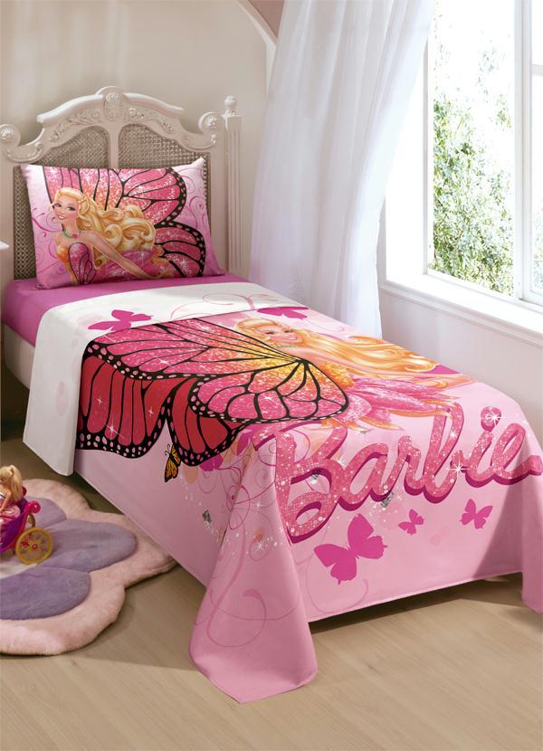 Jogo de cama barbie butterfly rosa lar lazer for Cama e mesa