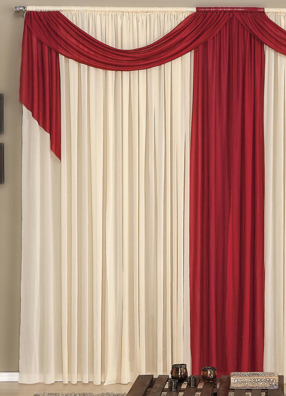 Cortina Com Band Vermelha E Bege 300 X 230 Cm Lar Lazer