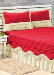 Jogo Colcha e Porta Travesseiros Vermelho e Bege