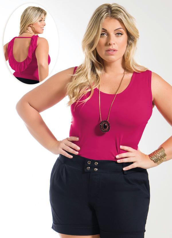 c9337b09ae Blusa Detalhe Babado nas Costas Pink Plus Size - Marguerite