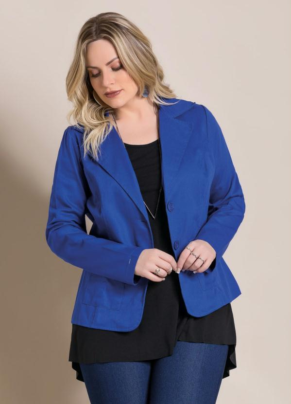 5b023c7d2 Quintess - Blazer em Sarja Azul Plus Size - Quintess