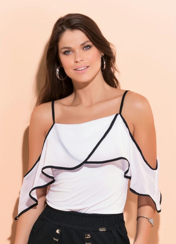 6f85bbf70 Blusa Ombro a Ombro com Babado Branca e Preta - Quintess Outlet
