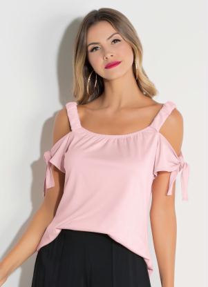 23e610ac46 produto Quintess - Blusa Quintess Rosa com Amarração nas Mangas