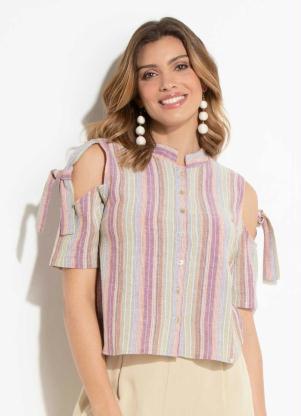 b6a418586e produto Quintess - Blusa Listrada Quintess em Linho com Botões