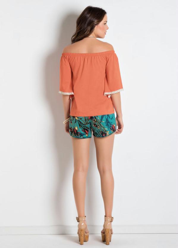 cc3feca7b1 Queima estoque - Blusa Ciganinha com Renda nas Mangas Coral - Queima ...