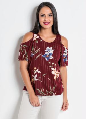 ccdbe5c381 Moda Pop - Blusa com Ombros a Mostra Listra e Flor
