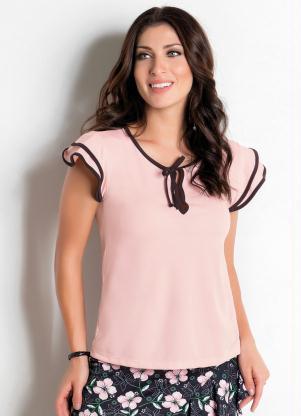 d0646b3b0b produto Rosalie - Blusa Rosa com Cor Contrastante Moda Evangélica