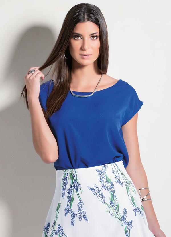 Multimarcas Blusa Em Crepe Azul Royal