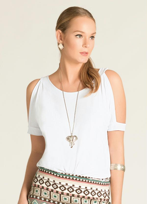 660ffbb9d Quintess Outlet - Blusa Ombros Vazados Branca - Quintess Outlet