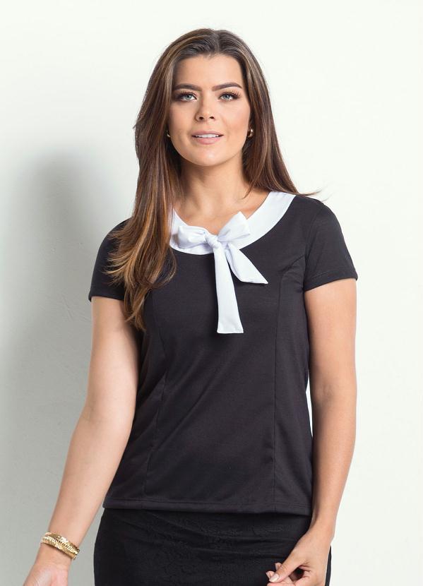 06ad6fd2a Blusa Preta com Laço Moda Evangélica - Rosalie