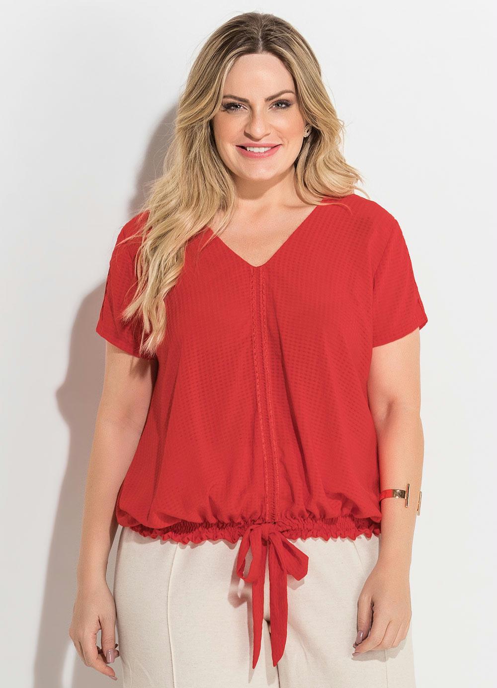 6872adbbc4 Blusa Vermelha com Amarração Plus Size Quintess - Quintess Outlet