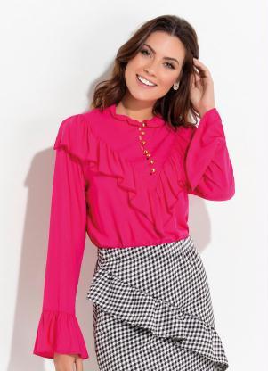 9a6fbbe86 Blusa Pink com Babados e Botões Quintess