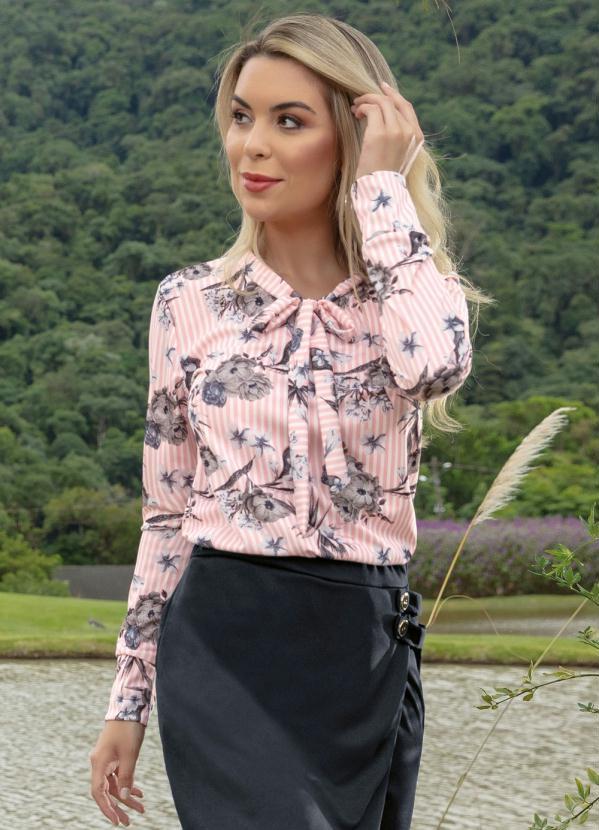 bf7731b105 Moda pop - Blusa Gola Laço Rosa Estampa Listras e Floral - Moda Pop