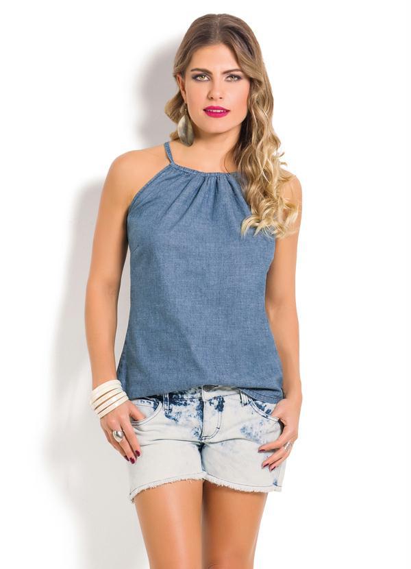 1227c5a4eb Janine - Blusa Jeans Azul Claro com Amarração no Decote - Multimarcas
