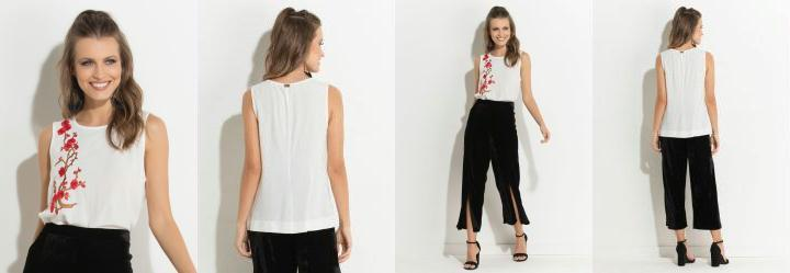 0.0 Blusa Off White sem Mangas com Estampa Quintess a3110d88794