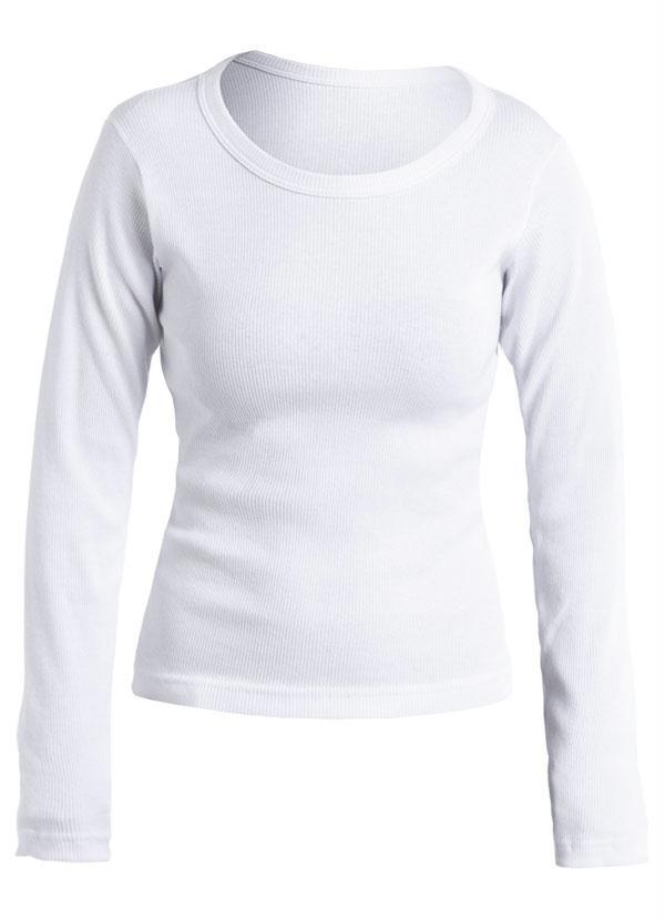 Blusa Branca Manga Longa com Decote Redondo - Queima de Estoque 1353124963a