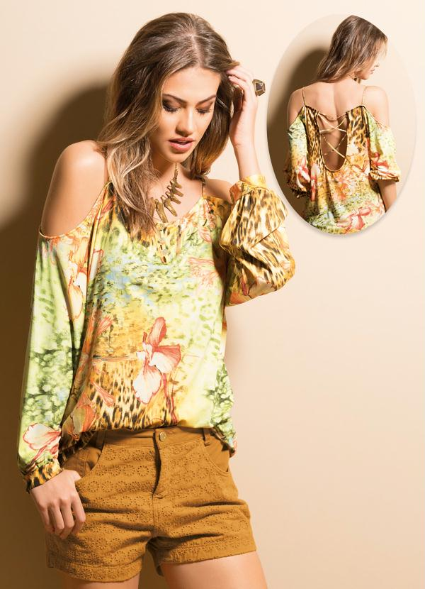 Amado Blusa Ciganinha Mix Floral e Animal Print - Quintess Outlet ED13