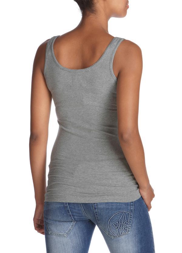 Camiseta Regata Feminina Bordada Cinza Mescla - null 6743f0676f2