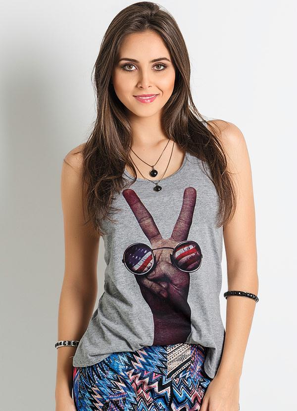 d27c3e3acacb1 Regata Feminina Estampa Paz e Amor - Queima de Estoque
