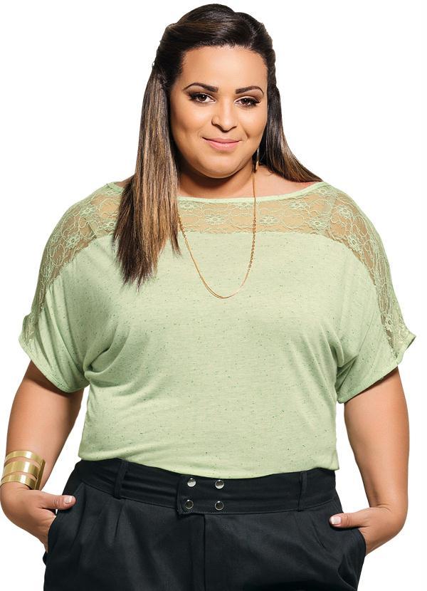 66c976d8631f Blusa Detalhe Renda Verde Plus Size - Marguerite