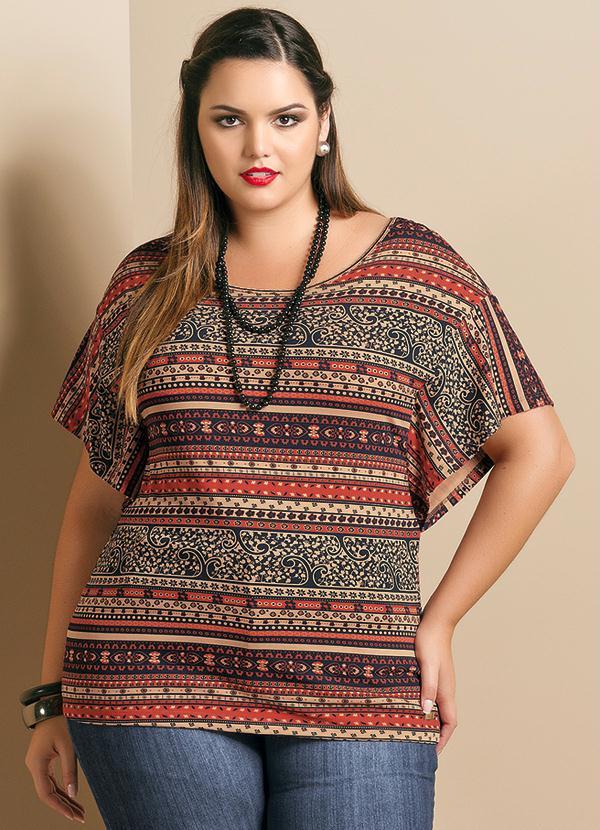 5d1da014f Quintess - Blusa Estampa Étnica Plus Size - Quintess
