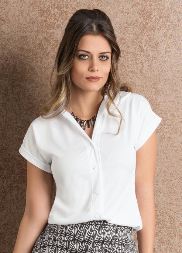 ca56c284e1 Queima estoque - Camisa Feminina Branca Manga Curta - Queima de Estoque