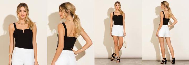 Moda feminina body preto feminino vestem branco manga - Multiplace 0acfc6d3ab