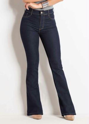 6a462cd02 Calça Flare Jeans Escuro Sawary com Bolsos