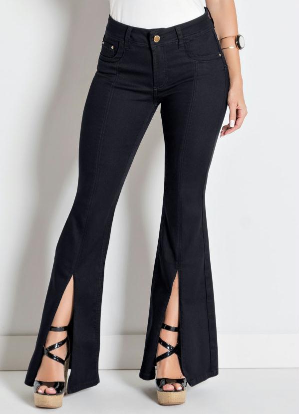 89c9a31b6 Sawary jeans - Calça Flare Preta Sawary com Fenda Frontal - Sawary Jeans