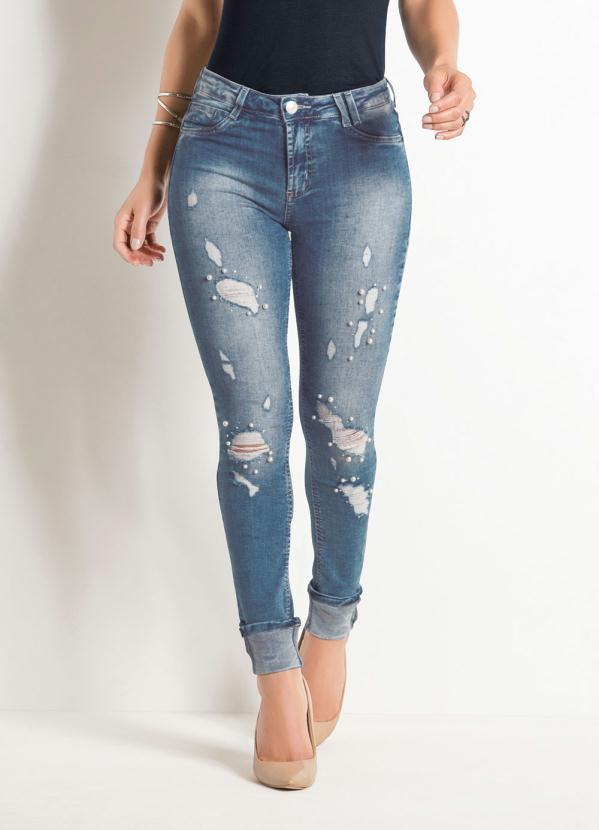 d448abb94 Sawary jeans - Calça Cigarrete Sawary Jeans Destoyed com Pérola ...