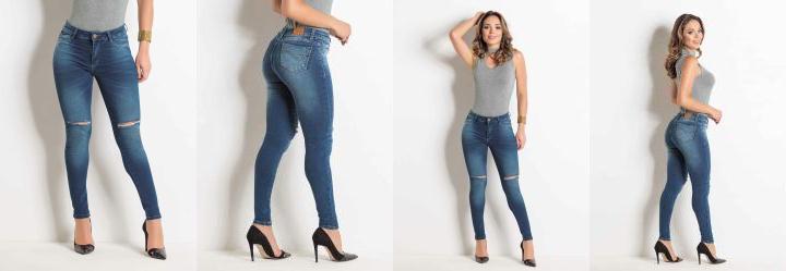 aa98e109d 0.0 Calça Cigarrete Destroyed Sawary Jeans com Bolso