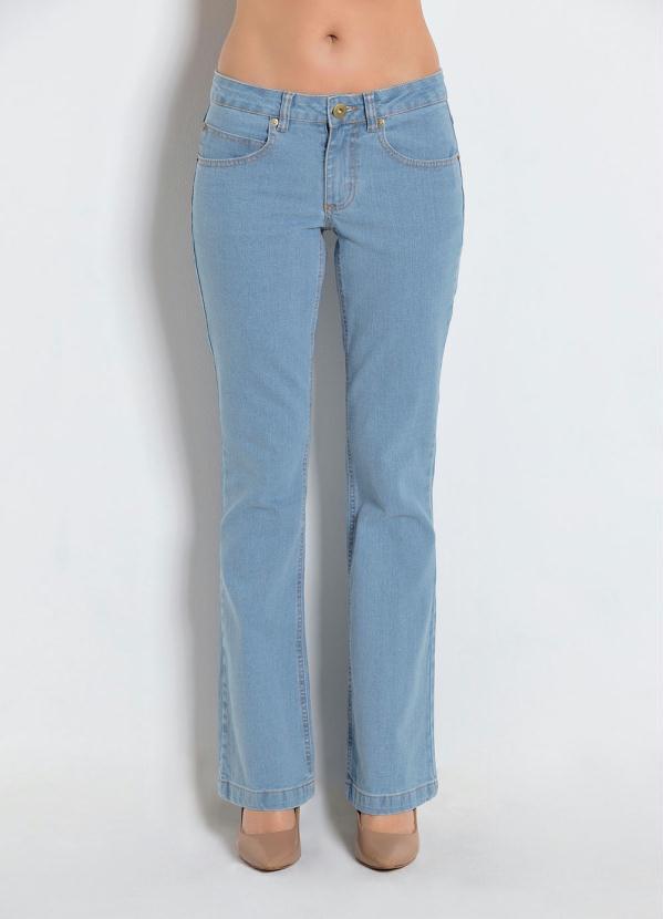 79e86d99b Bonprix - Calça Jeans Boot Cut-Perna Larguinha Azul Claro - bonprix