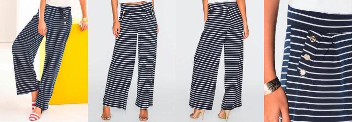 bonprix. 0.0 Calça Pantalona Listrada Azul 92590dcab70