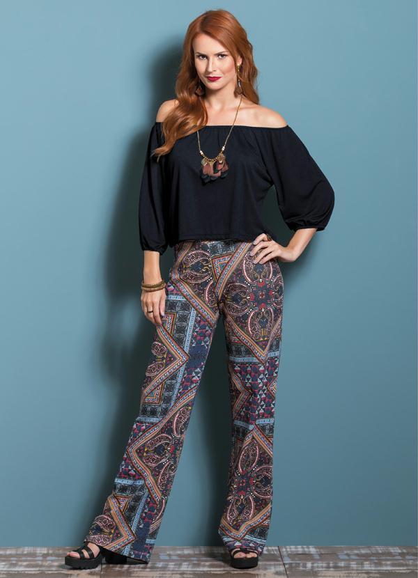 Calça Pantalona Estampada com Cintura Média - Queima de Estoque d3753494050