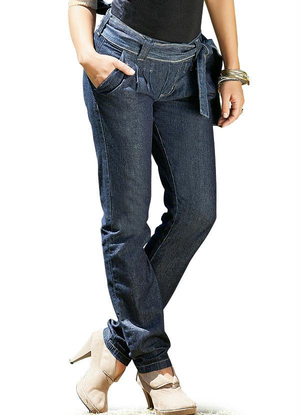 4a09ab751 Queima estoque - Calça Saruel Jeans com Faixa - Queima de Estoque