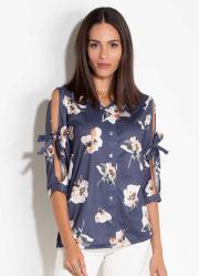 Camisa com Amarração Floral Marinho Quintess