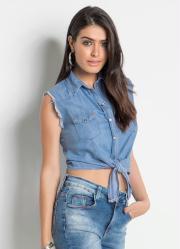 Camisa Jeans Sawary Cropped sem Mangas Azul