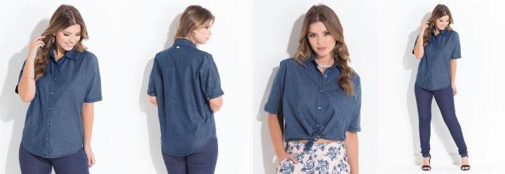 Camisa Jeans Quintess com Botões e Gola