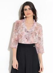 Camisa Quintess com Botões Floral e Escritas