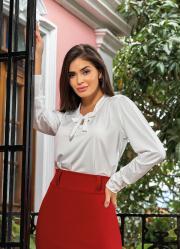 Camisa com Gola Laço Off White Moda Evangélica