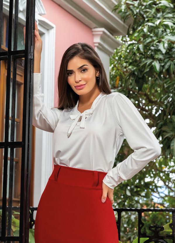 1a57cf7d9 Rosalie - Camisa com Gola Laço Off White Moda Evangélica - Rosalie
