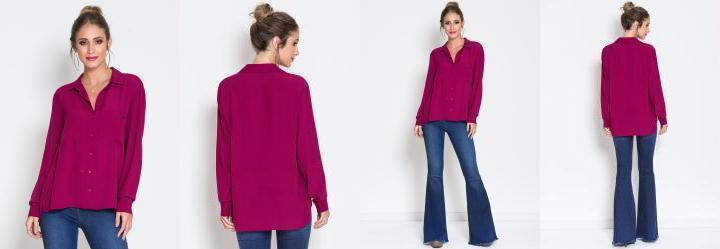 Camisa Colcci Rosa Ampla