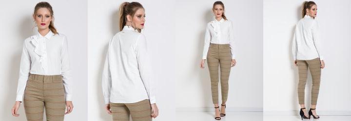 Camisa com Babado Branca Colcci