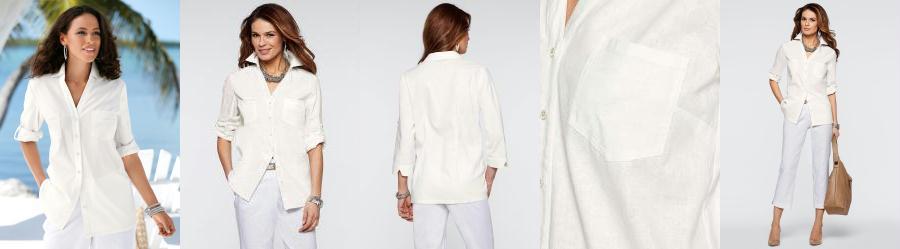 Camisa de Linho com Algodão Branco