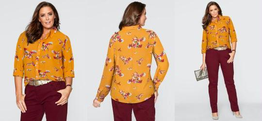 Camisa Estampada Floral Laranja