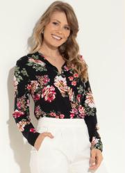 Camisa Floral Quintess com Botões e Gola