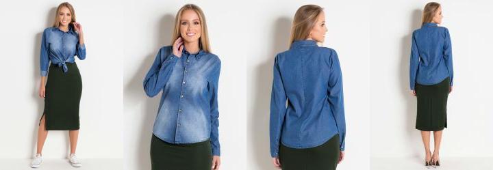 7c5daffd1 1.058824062347412 Camisa Jeans Azul com Botões Moda Evangélica