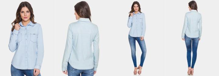 Camisa Jeans Manga Longa Délavé Jeans Lunender