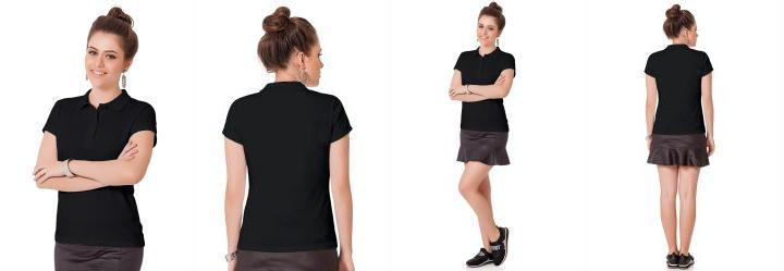 Camisa Polo Preto Fakini Woman Every Day