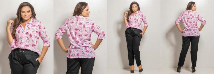Camisa 3/4 Plus Size Estampada